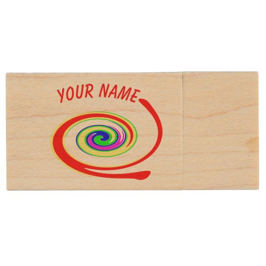 Multicolored swirl. Add your text. Wood USB Flash Drive