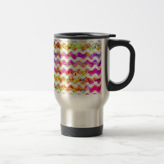 Multicolored Textured Chevron Stainless Steel Travel Mug