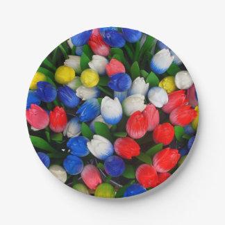 Multicolored tulips paper plate