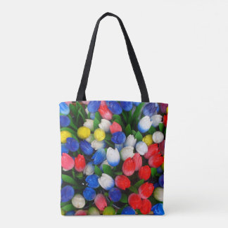 Multicolored tulips tote bag