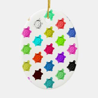 Multicolored Turtle Pattern Ceramic Oval Decoration