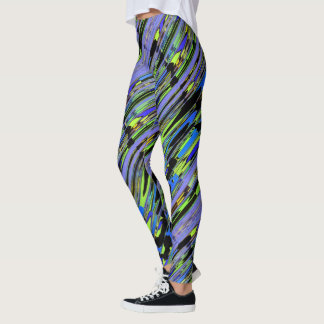 Multicolored Twist Green Yellow and Blue Leggings