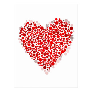 Multicolored Valentine's Day Heart Made of Dots Postcard