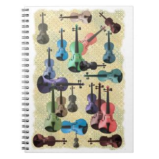Multicolored Violin Wallpaper Spiral Note Book