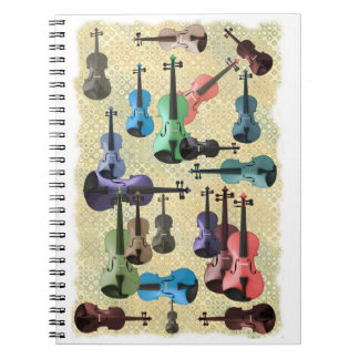 Multicolored Violin Wallpaper Spiral Notebook