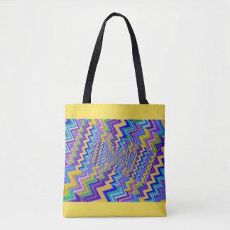 multicolored vortex on tote bag