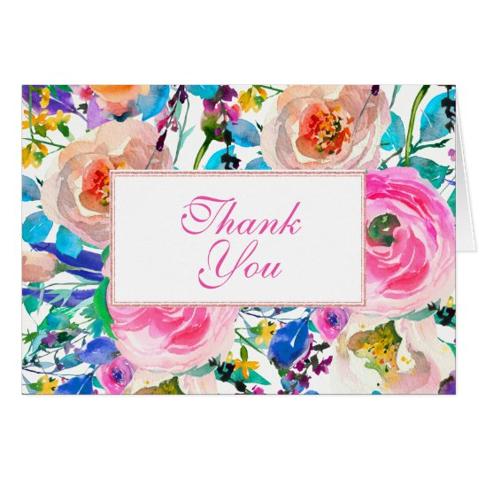 Multicolored Watercolor Flowers- Thank You Card