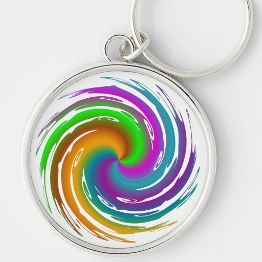 Multicolored wave Silver-Colored round key ring