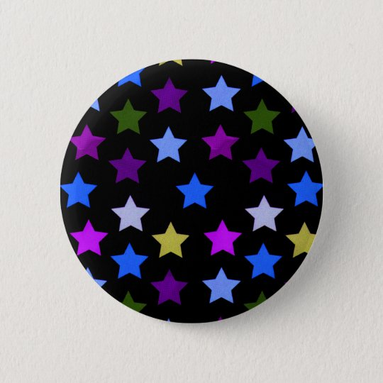 Multicolour Star Pattern Badge/Button 6 Cm Round Badge