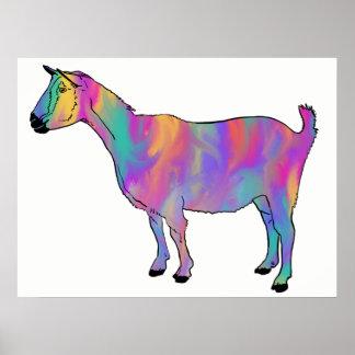 Multicoloured Art Goat Funny Animal Design Poster