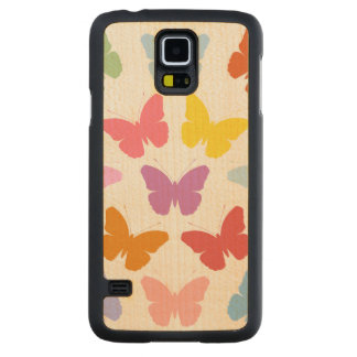 Multicoloured Butterflies Pattern II on White Carved Maple Galaxy S5 Case
