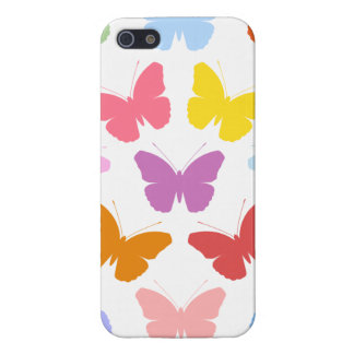 Multicoloured Butterflies Pattern II on White iPhone 5 Cases
