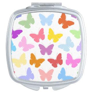 Multicoloured Butterflies Pattern II on White Makeup Mirror
