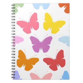 Multicoloured Butterflies Pattern II on White Notebook