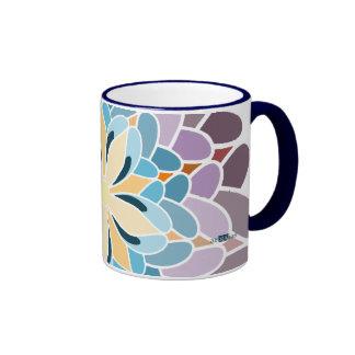 Multicoloured dahlia coffee mug