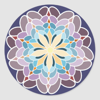 Multicoloured dahlia round sticker