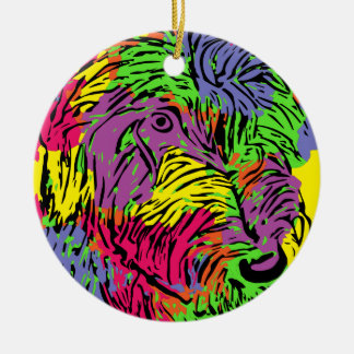 Multicoloured dog round ceramic decoration
