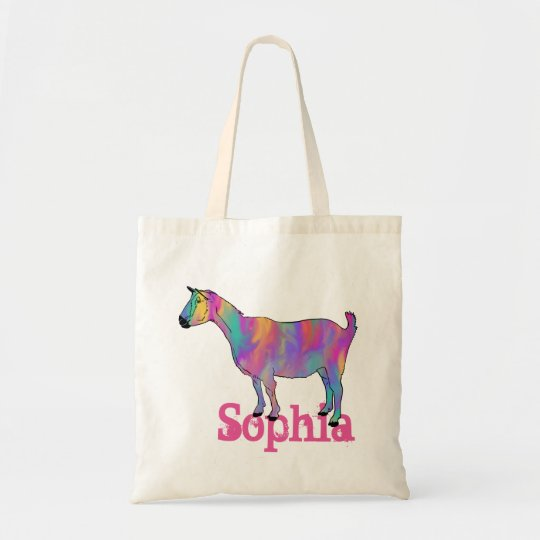 Multicoloured Funny Art Goat Design with Your Name