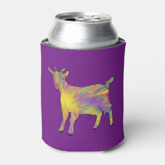 Multicoloured Funny Artsy Goat Animal Art Design Can Cooler