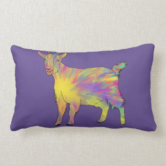 Multicoloured Funny Artsy Goat Animal Art Design Lumbar Cushion