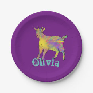 Multicoloured Funny Artsy Goat Animal Art Design Paper Plate