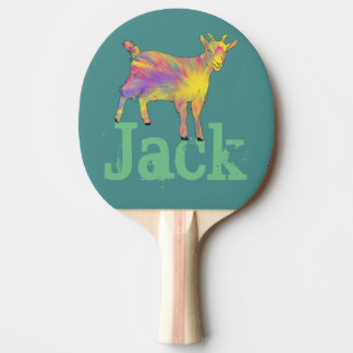 Multicoloured Funny Artsy Goat Animal Art Design Ping Pong Paddle