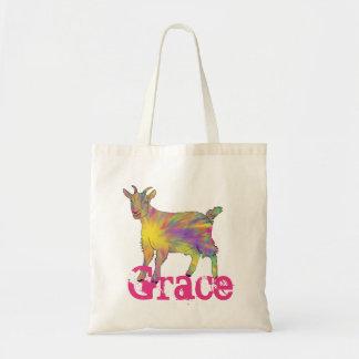 Multicoloured Funny Artsy Goat Animal Art Design Tote Bag