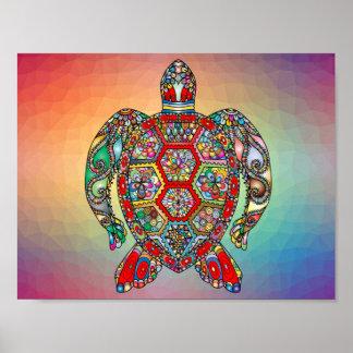 Multicoloured geometric turtle poster
