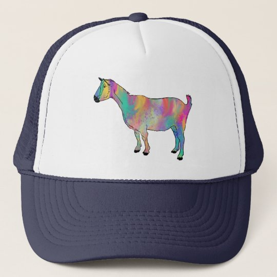 Multicoloured Goat with Paint Splatters Animal Art Trucker