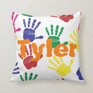 Multicoloured handprint children's personalised cushion