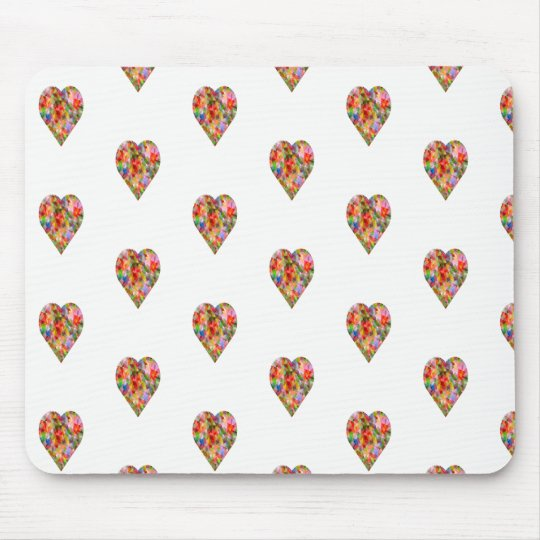 Multicoloured heart mouse pad
