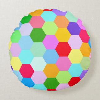 Multicoloured Hexagon Pattern Round Cushion