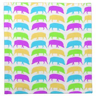 Multicoloured Hogs Yellow Green Purple Blue Napkin