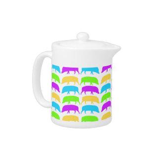 Multicoloured Hogs Yellow Green Purple Blue Teapot