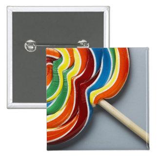Multicoloured lollipop 15 cm square badge