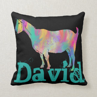 Multicoloured painted Goat Design with Your Name Cushion