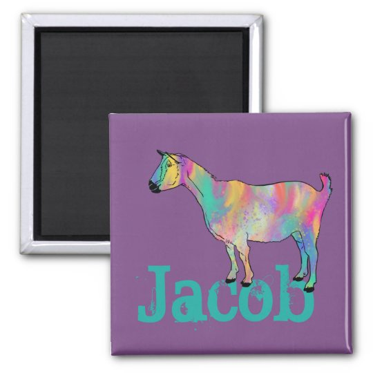 Multicoloured painted Goat Design with Your Name Magnet