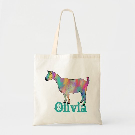 Multicoloured painted Goat Design with Your Name Tote