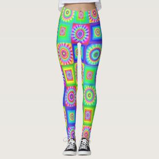Multicoloured Patchwork Flower Leggings