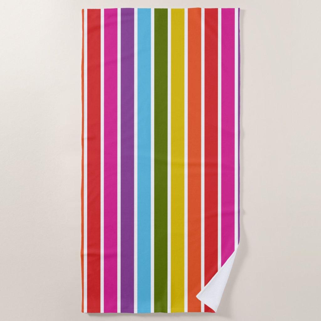 Multicoloured Rainbow Vertical Stripe Personalised Beach Towel