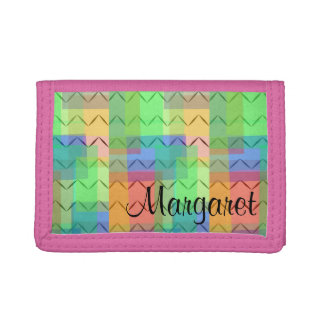 Multicoloured squares, chevron pattern, monogram, trifold wallet