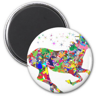 Multicoloured Unicorn Filled With Shapes 6 Cm Round Magnet