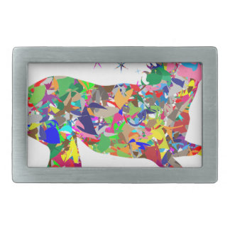 Multicoloured Unicorn Filled With Shapes Belt Buckle