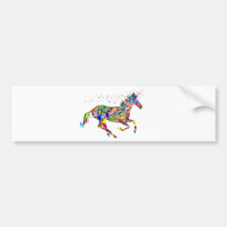 Multicoloured Unicorn Filled With Shapes Bumper Sticker