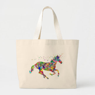 Multicoloured Unicorn Filled With Shapes Large Tote Bag