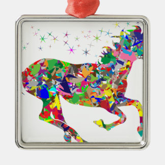 Multicoloured Unicorn Filled With Shapes Silver-Colored Square Decoration