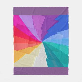multicoloured vortex on fleence blanket
