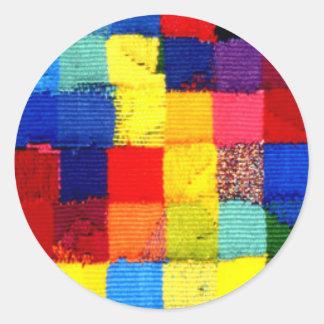 multicoloured woven bright round sticker