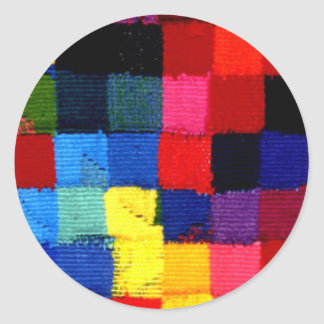 multicoloured woven bright round sticker