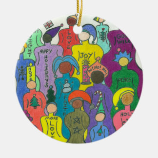 Multicultural Christmas Circle Ornament-2 Sided Christmas Ornament